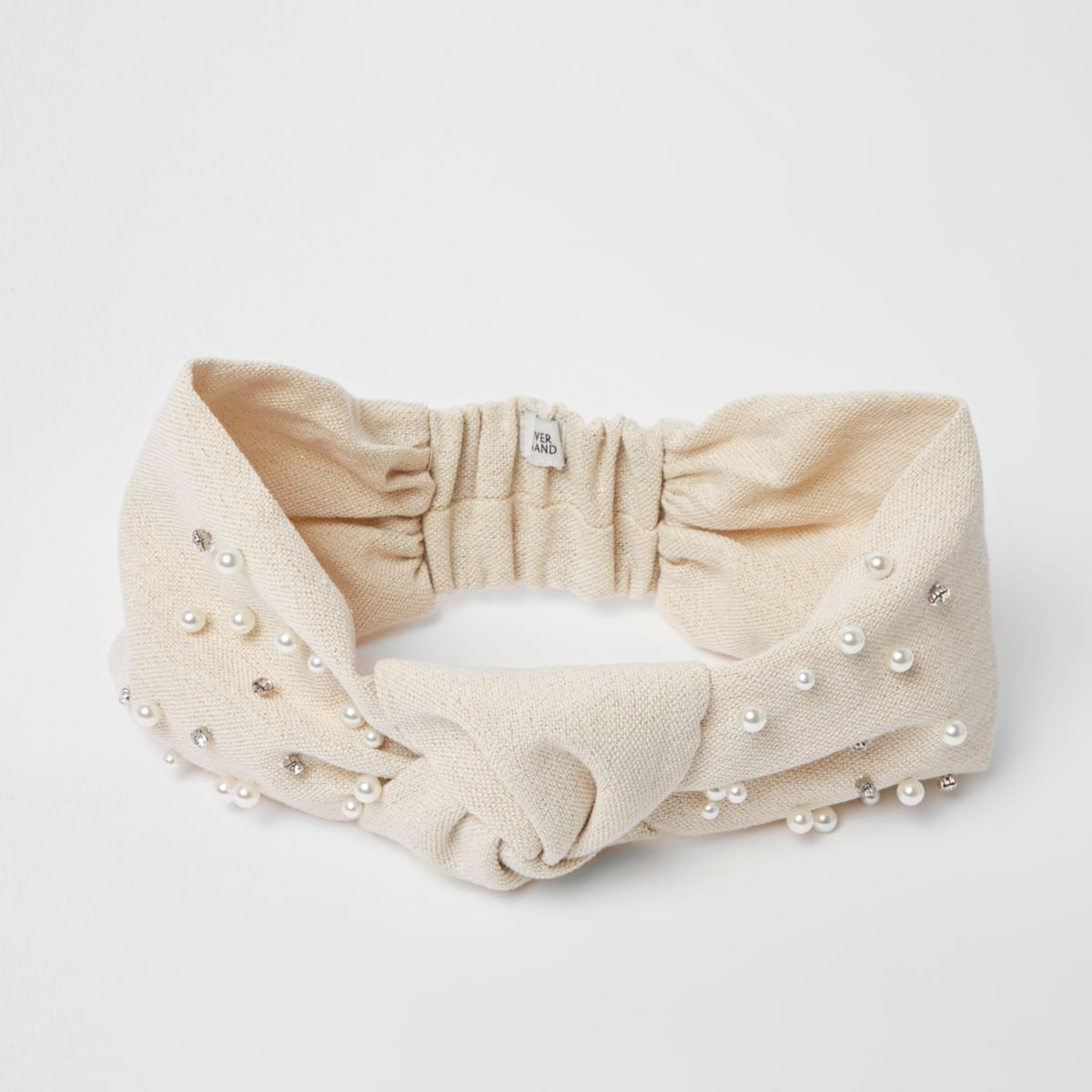 Cream knot front embellished headband