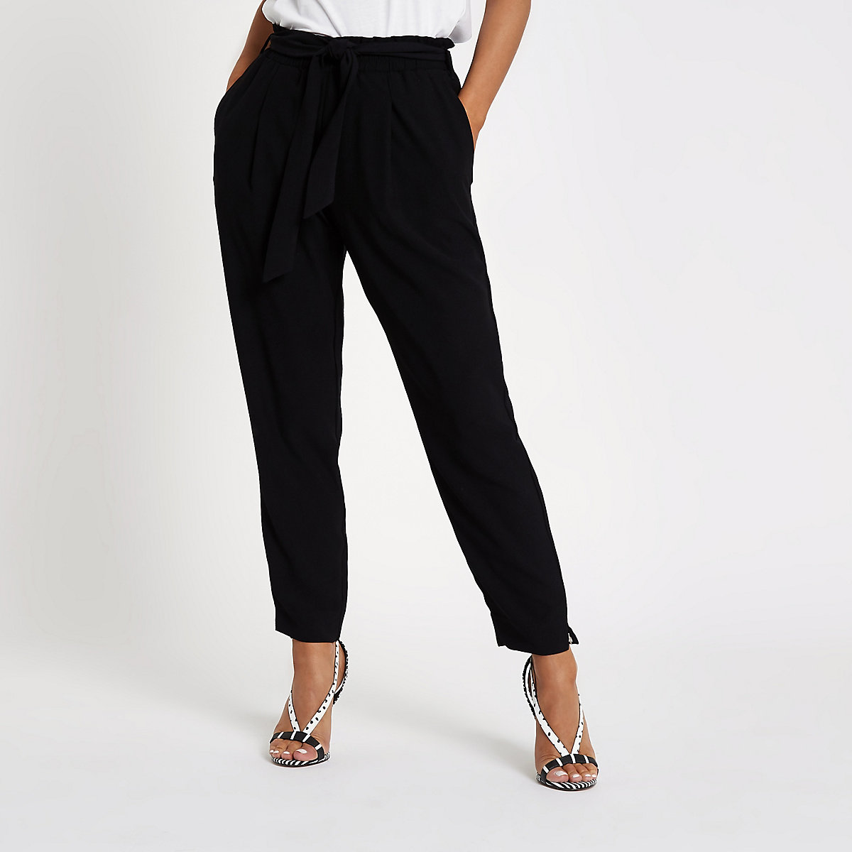 Petite black tie waist tapered trousers