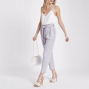 Petite Grey tie waist tapered trousers