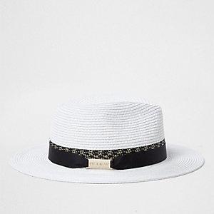 White woven straw fedora hat