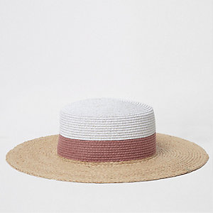 Beige glitter color block straw hat