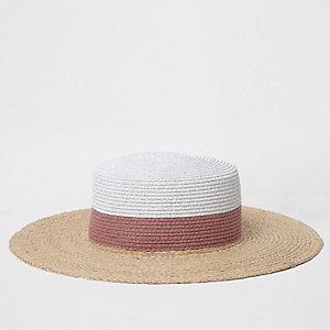 Chapeau de paille beige à paillettes effet colour block
