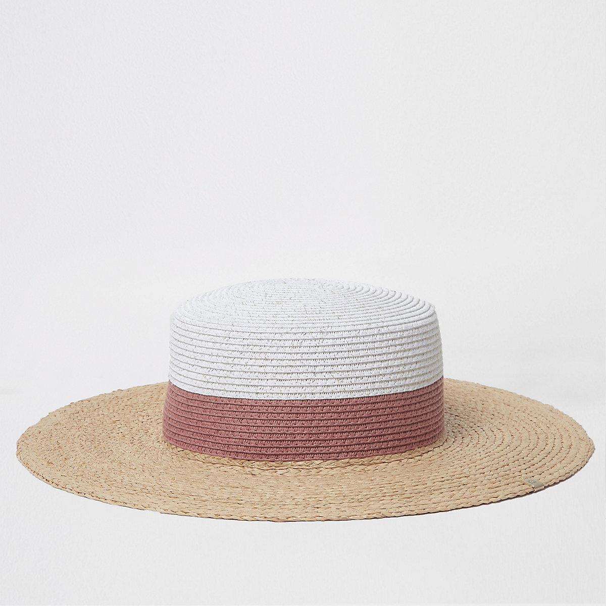 Beige glitter colour block straw hat