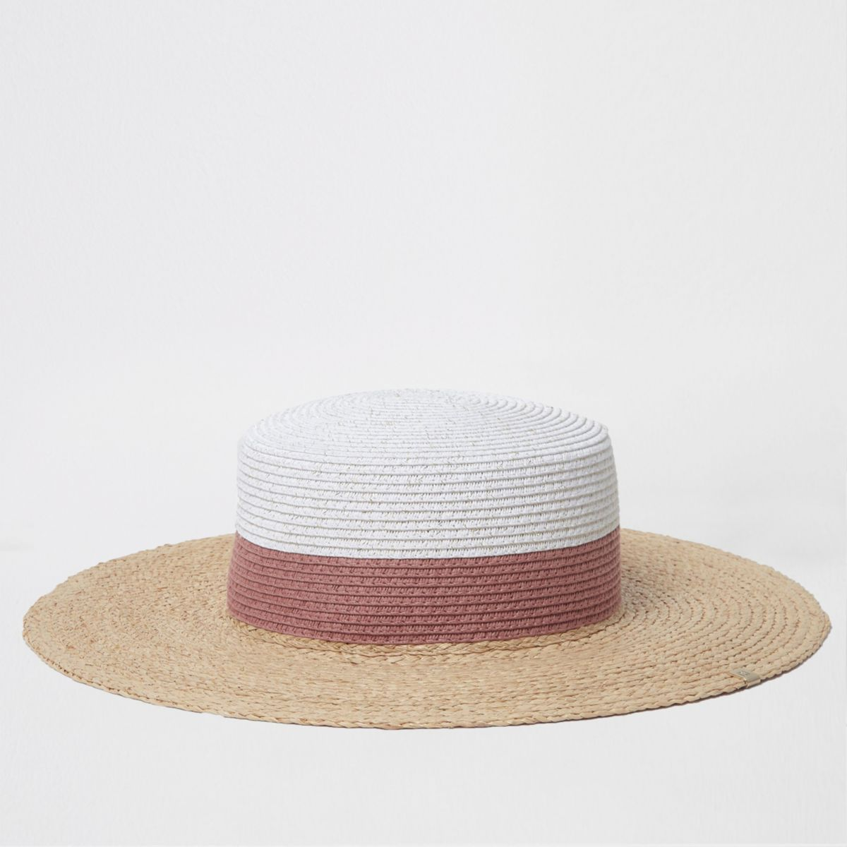 Beige glitter colour block straw hat