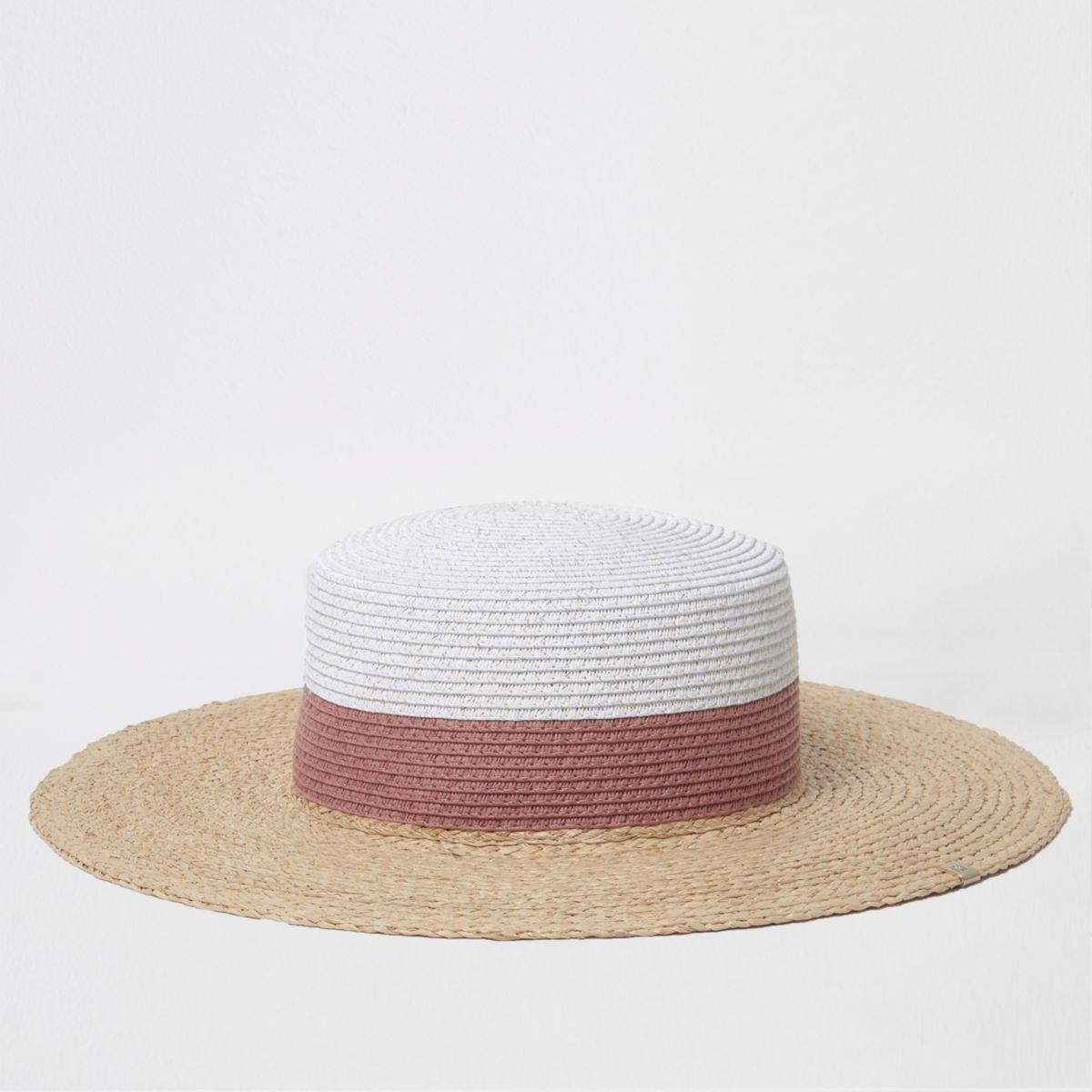 Beige glitter color block straw hat