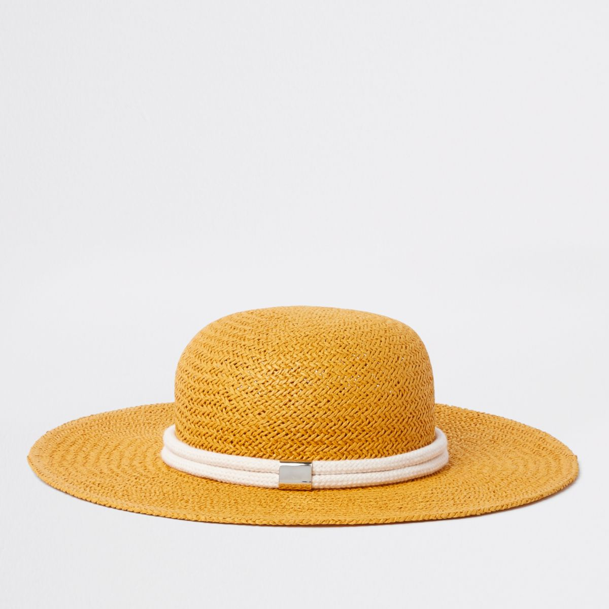 Yellow woven straw rope trim hat