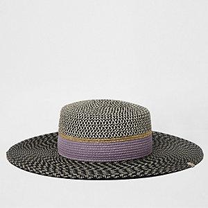 Black textured straw hat