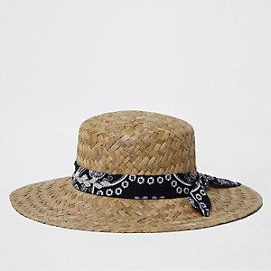 Chapeau de paille marron clair à tressage épais