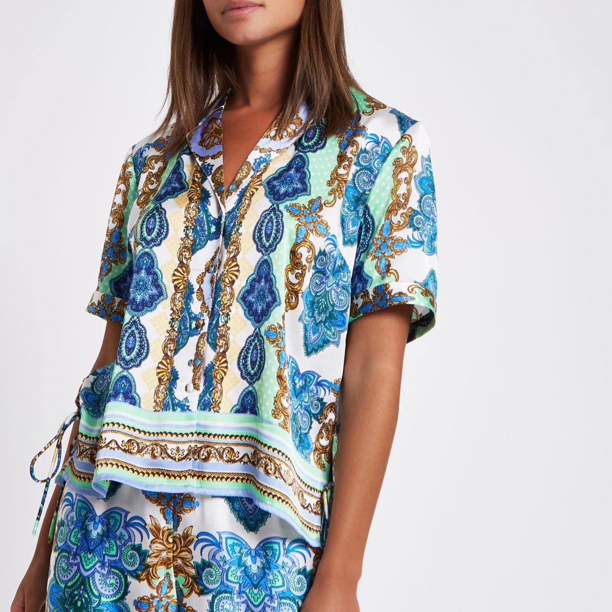 Green mixed print lace pajama shirt