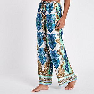 Green print lace pyjama trousers