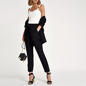 Black tie waist tapered pants