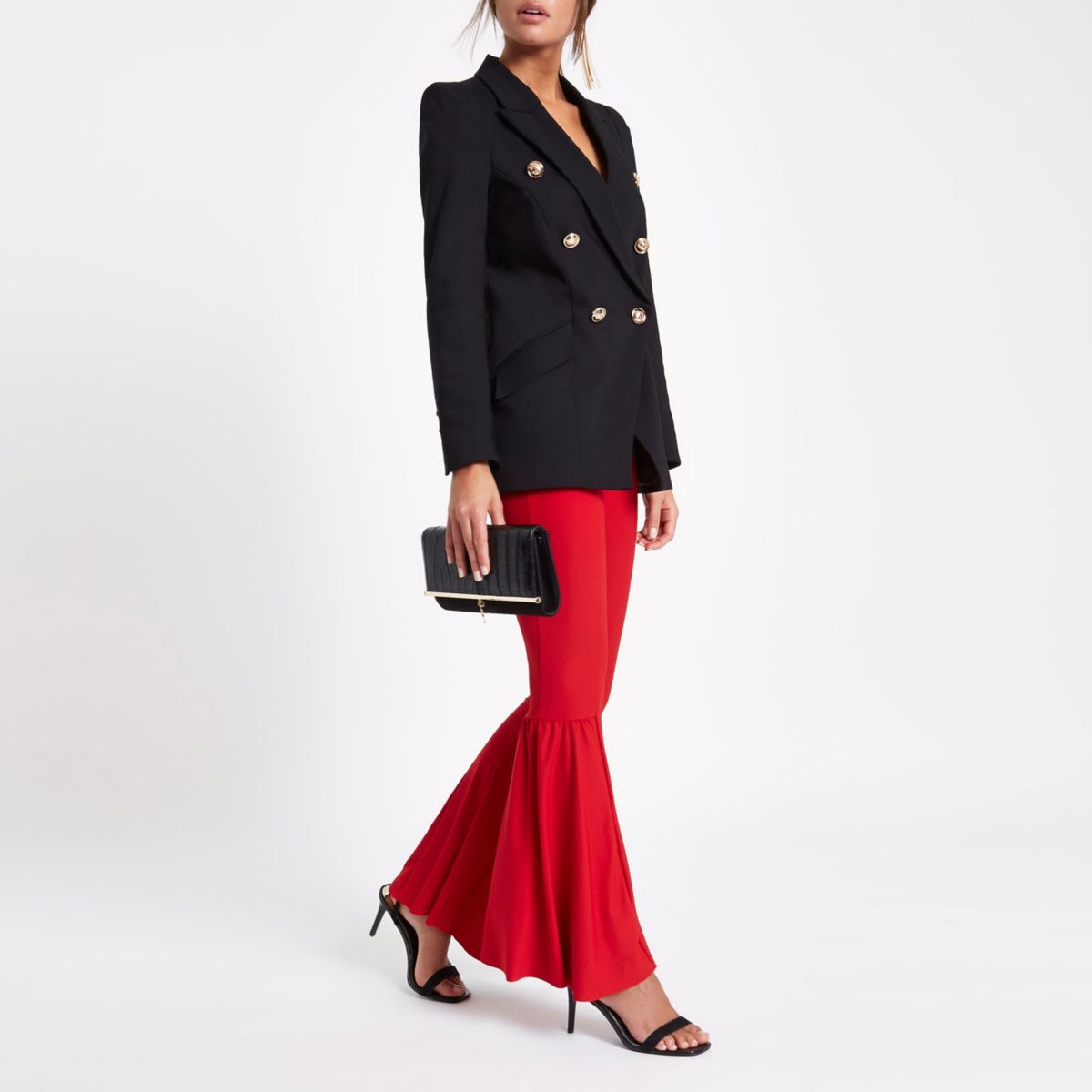 Red flared high waisted jersey trousers