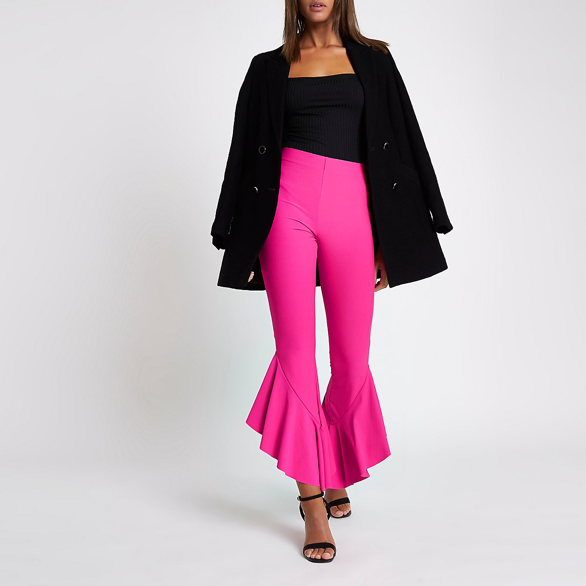 Bright pink frill hem high waisted trousers