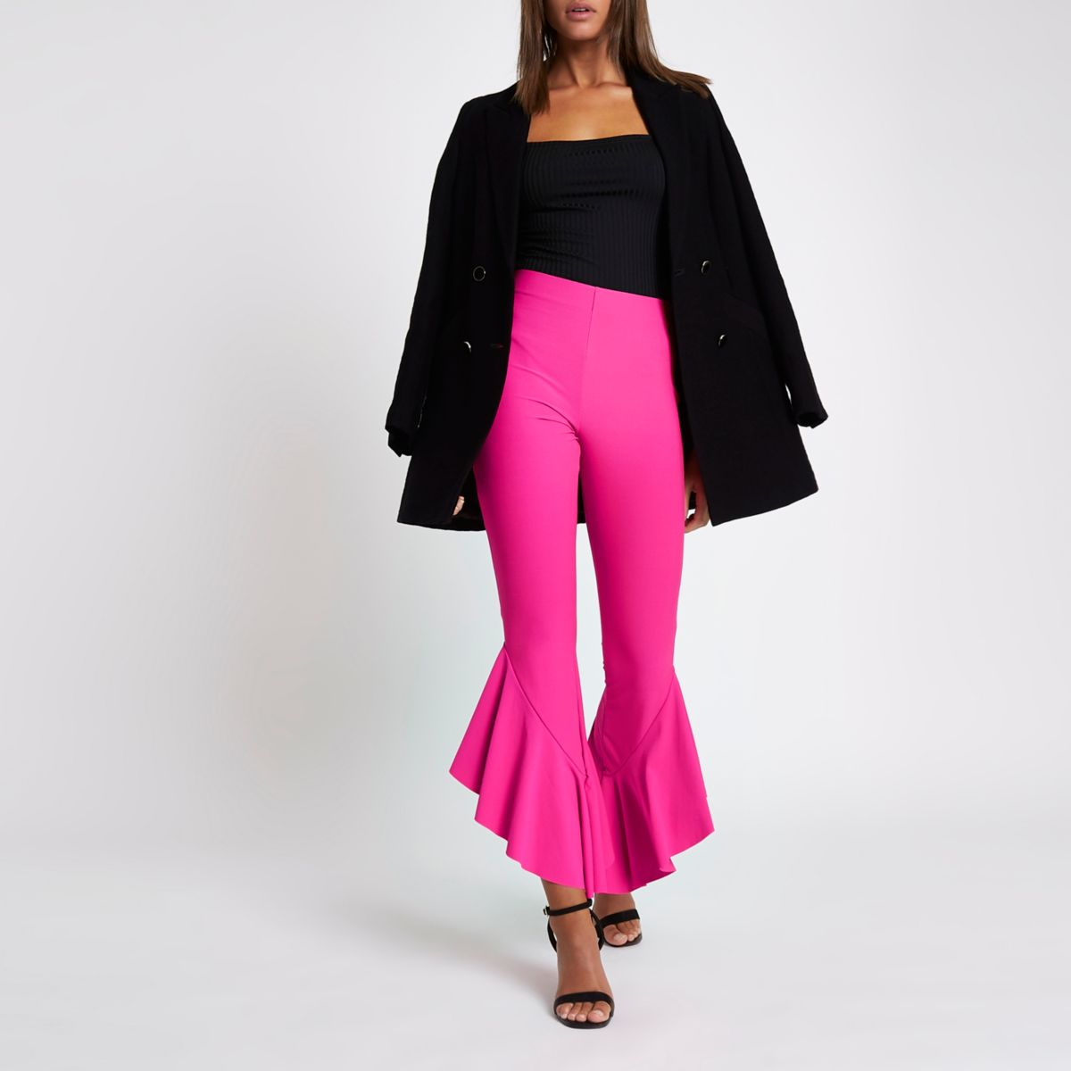 Bright pink frill hem high waisted pants