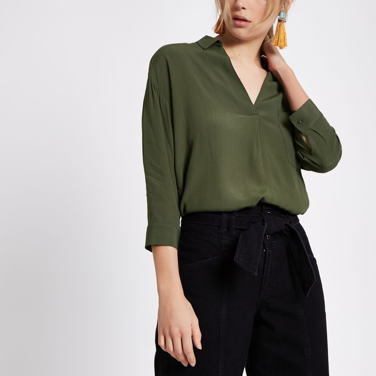 Khaki green cross back loose fit shirt