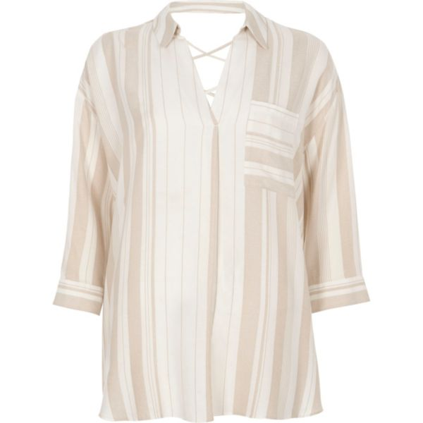 River Island - Cream stripe cross back loose fit shirt - 5