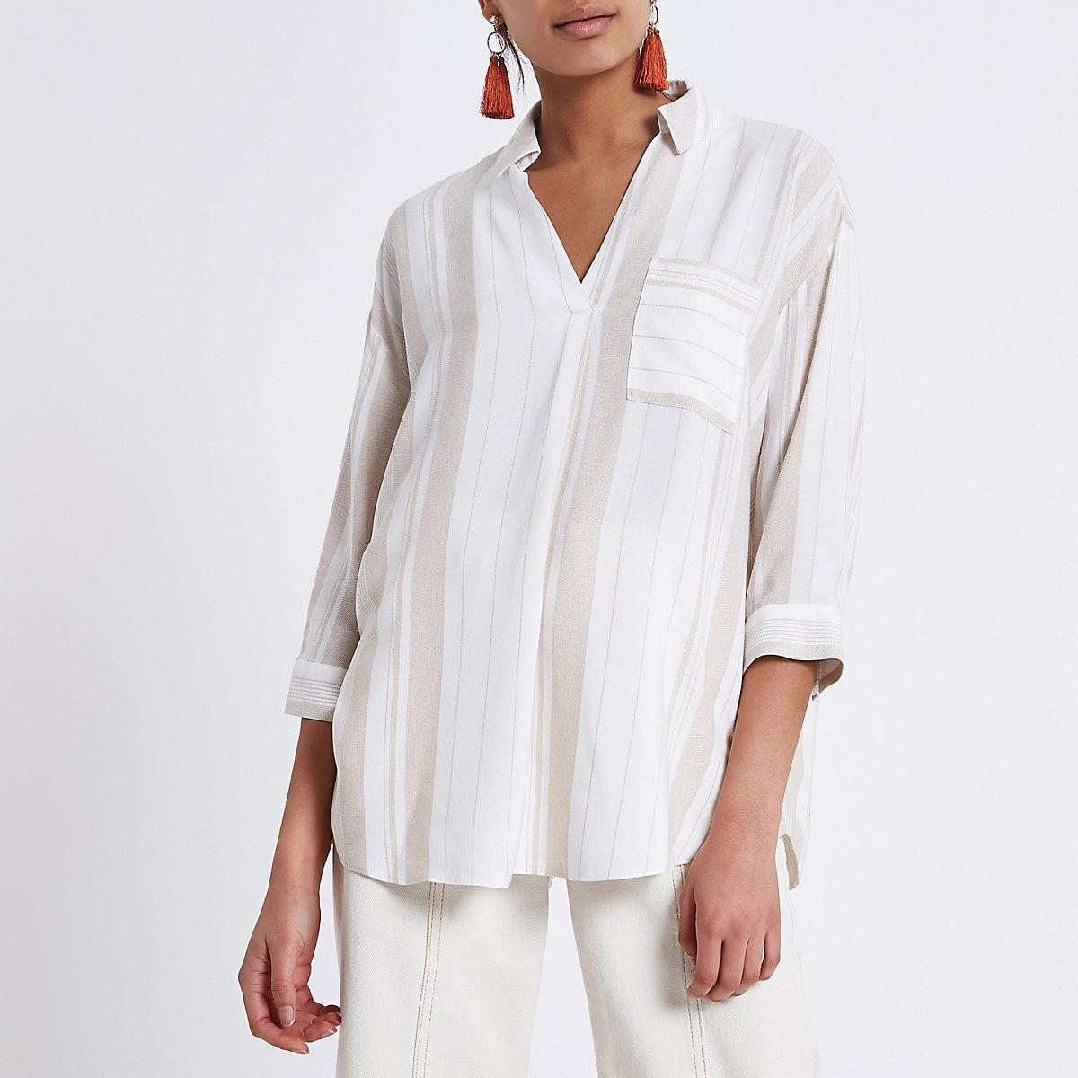 Cream stripe cross back loose fit shirt