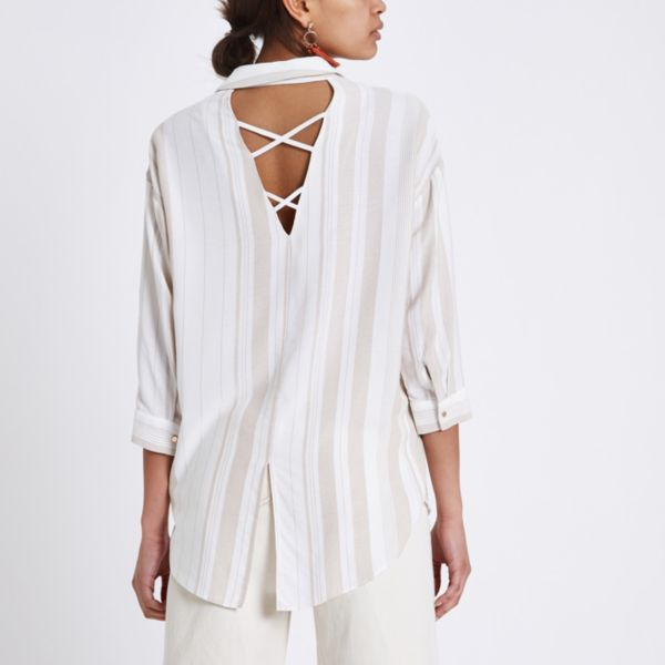 River Island - Cream stripe cross back loose fit shirt - 2