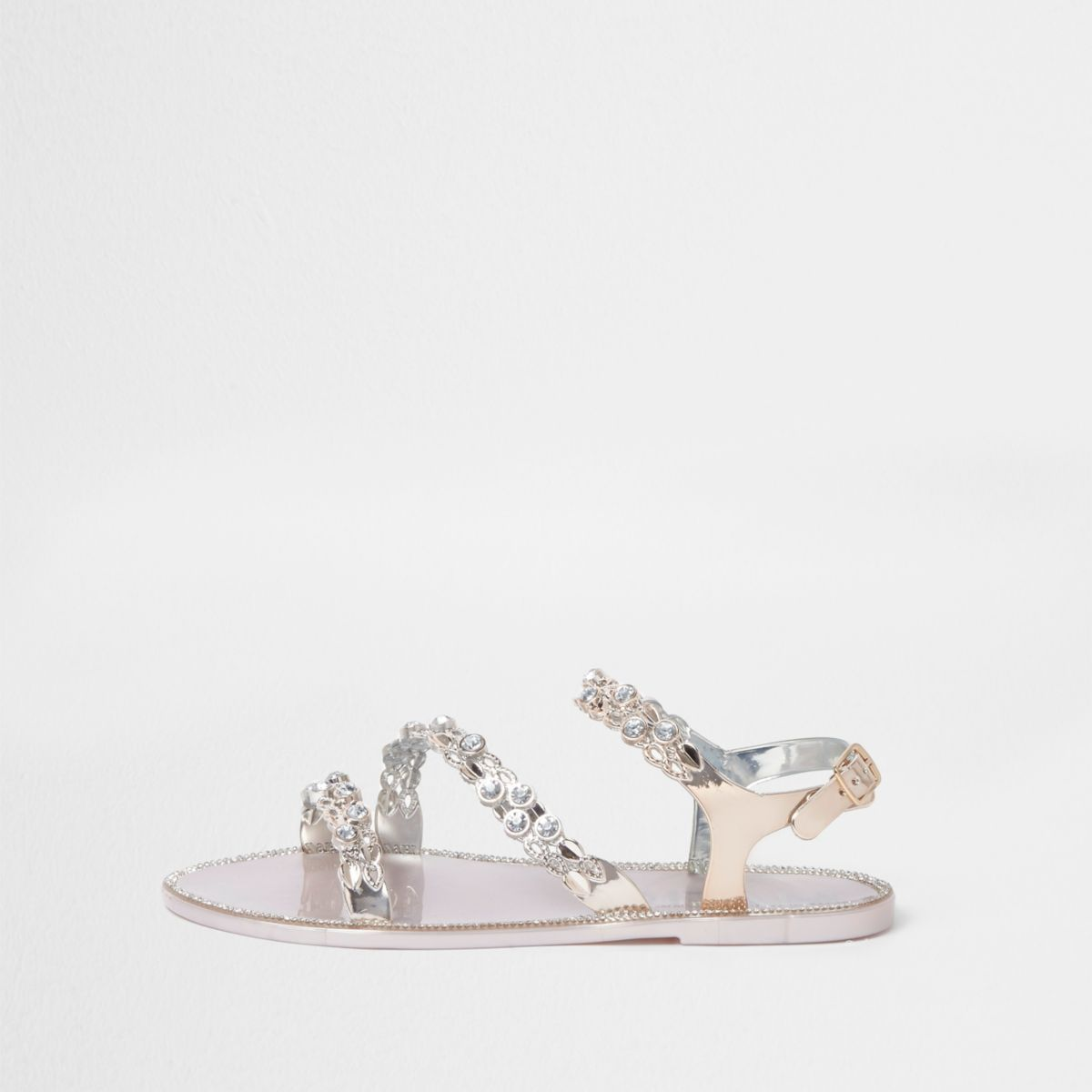 Womens Gold jewel strap jelly sandals River Island