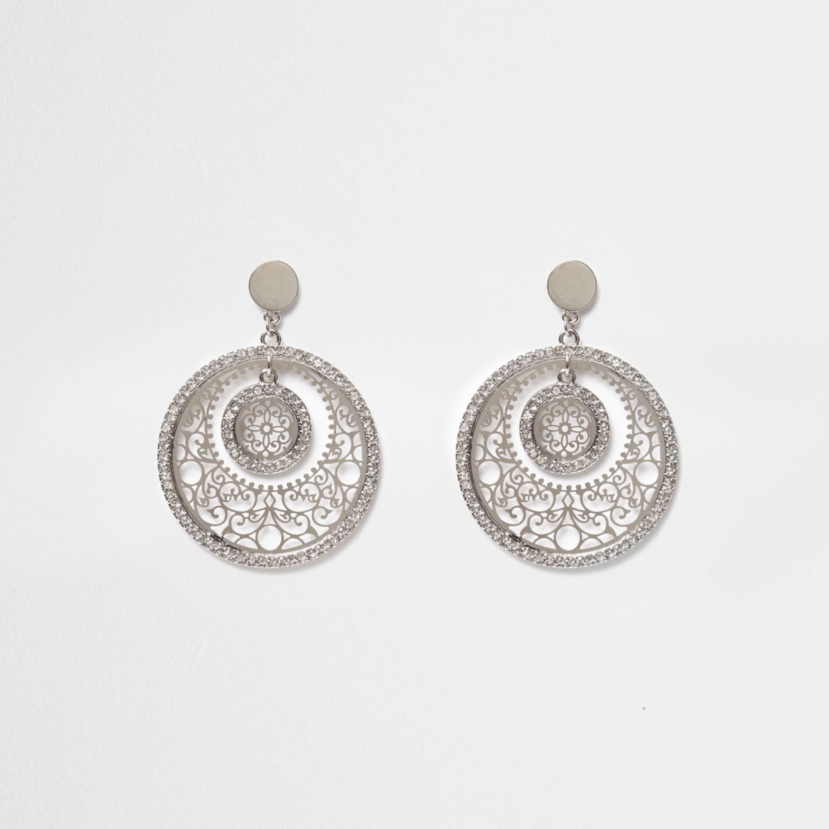 Silver tone filigree disc drop earrings