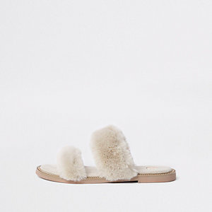 Cream faux fur strap sandals