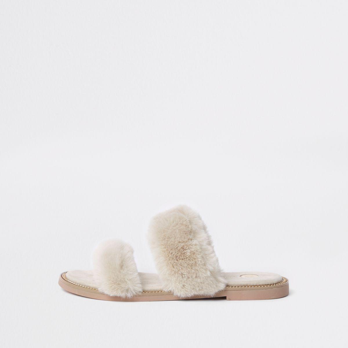 Cream faux fur strap sandals