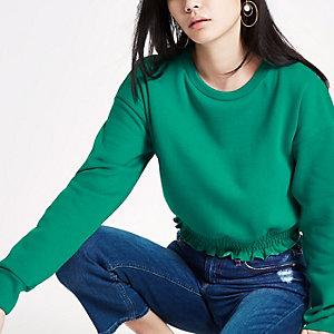 Groen cropped sweatshirt met gesmokte zoom