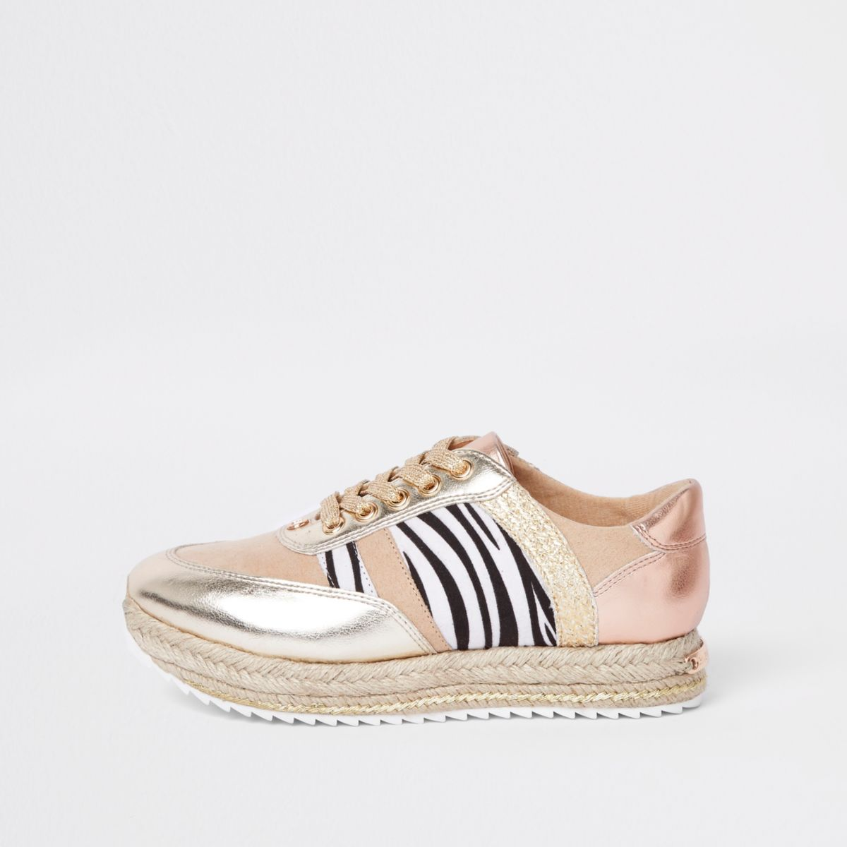 Gold print espadrille lace-up runner trainers