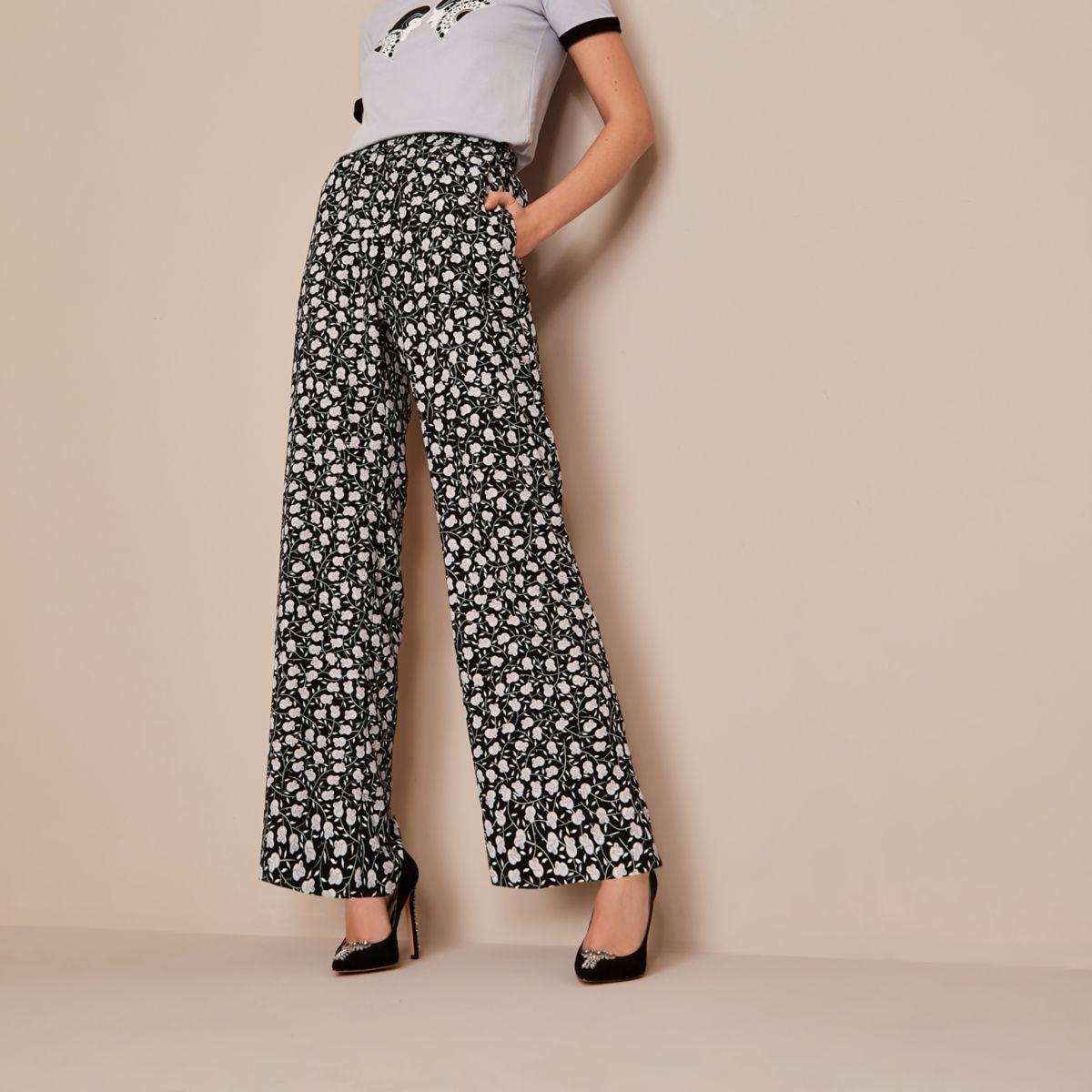 Black Holly Fulton floral wide leg pants