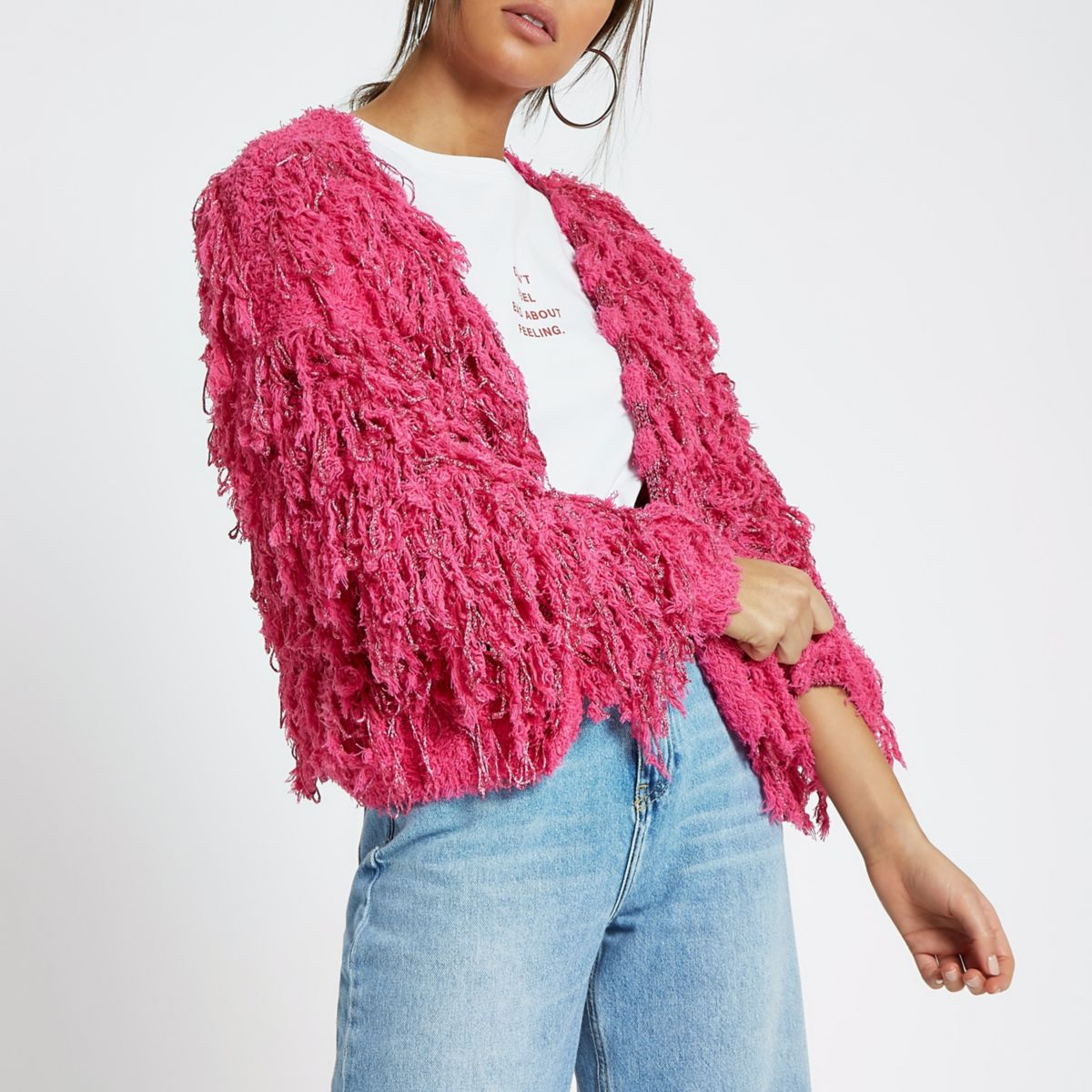 Pink stripe trophy knit cardigan