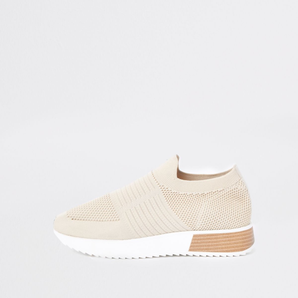 Beige knitted runner sneakers
