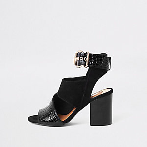 Black buckle block heel shoe boot