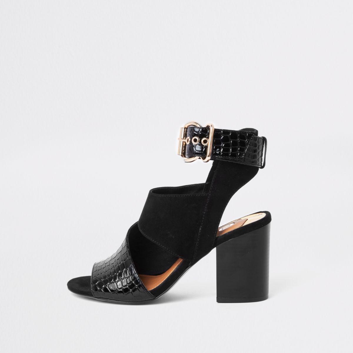 Black buckle block heel shoe boot