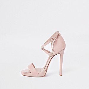 Roze minimalistische sandalen met platte zool