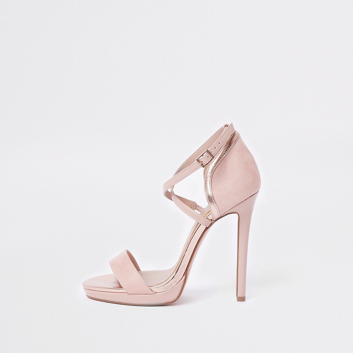Pink barely there platform sandals