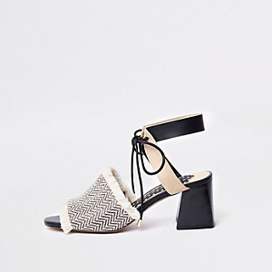 Black frayed open toe block heel mule