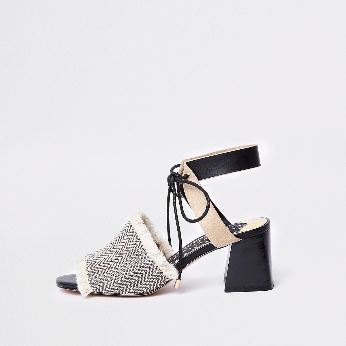 Black frayed open toe block heel mule