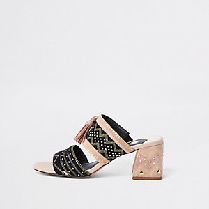 Black aztec low block heel sandals