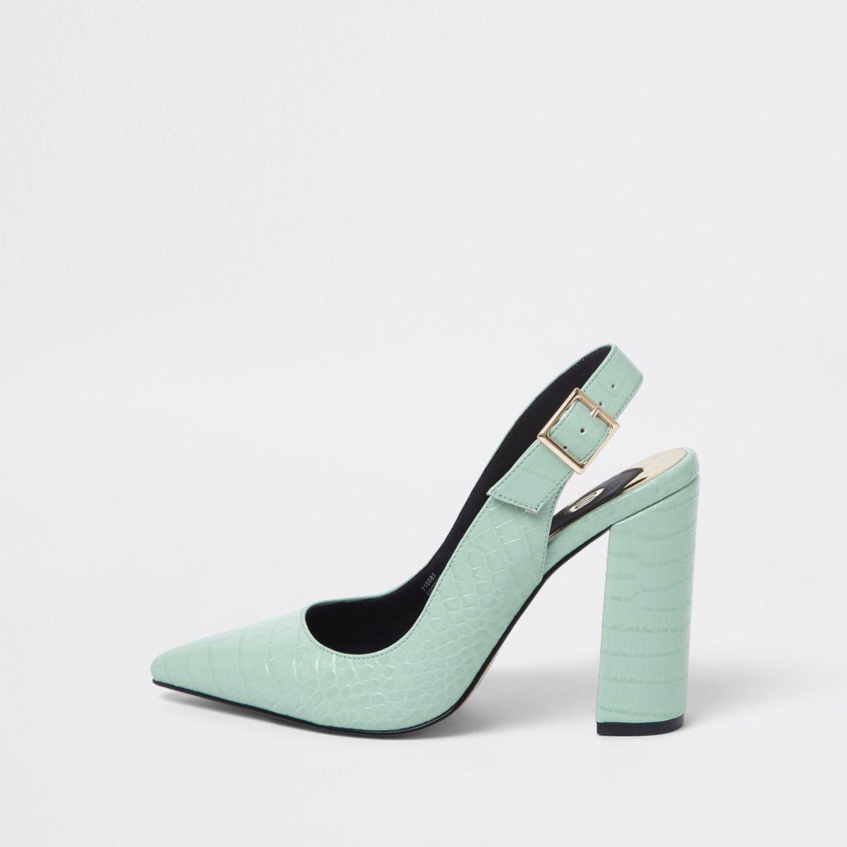 Green croc block heel sling back pumps