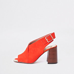 Red block heel shoe boots