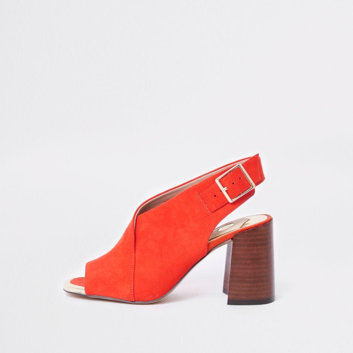Red block heel shoe boots