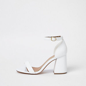White wide fit block heel buckle sandals
