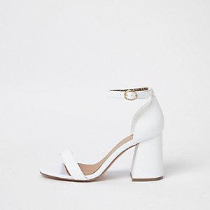White wide fit block heel buckle sandals