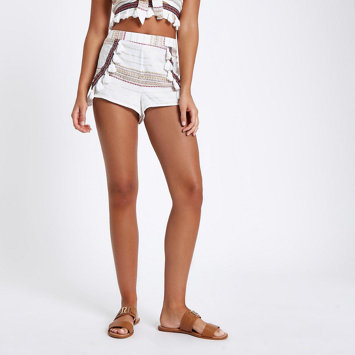 Cream aztec embroidered beach shorts