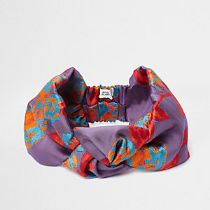 Purple jacquard knot front headband