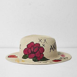 Beige doodle graffiti print straw sun hat