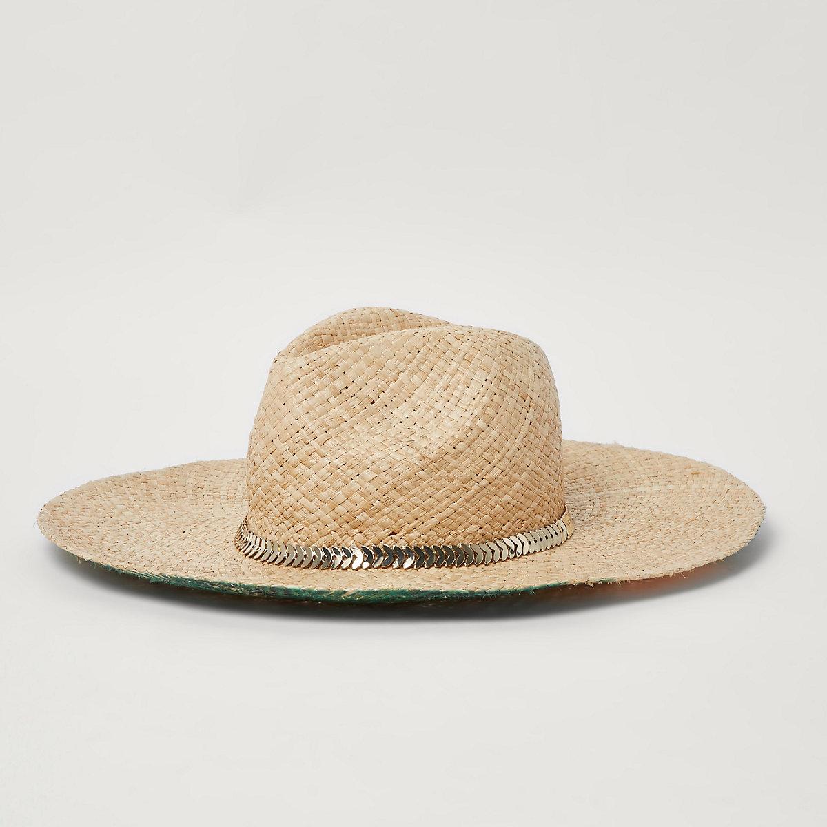 Chapeau de paille beige imprimé palmiers