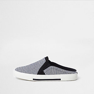 Navy stripe mule slip on plimsolls