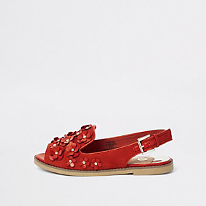 Rode slingback peeptoe loafers met 3D bloem
