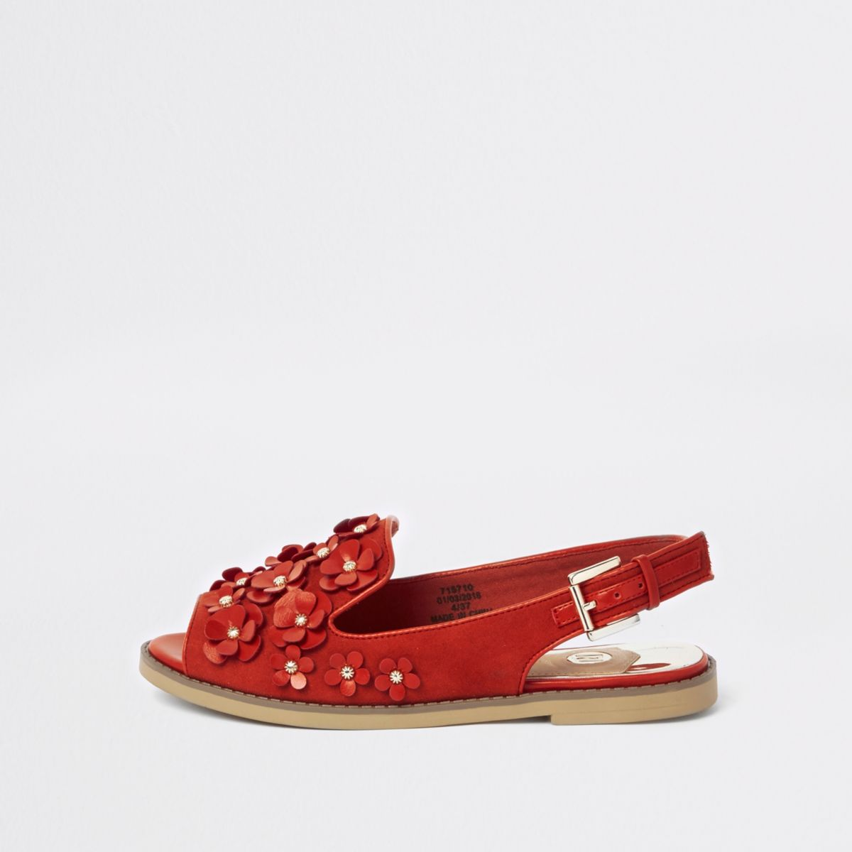 Red 3D flower slingback peep toe loafers